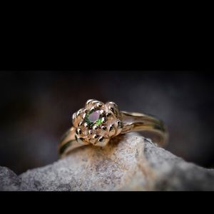 Blooming Flower Emerald and 14k Rose Gold Ring